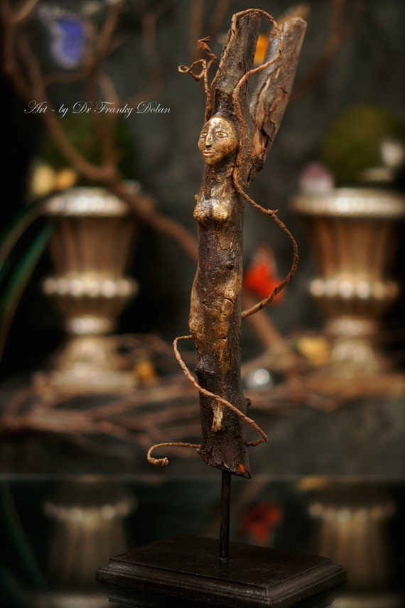 Tree Nymph Sculpture. Primitive Art Doll In Clay And Tree Spirit Wood Carving Sculpture) by Fae Factory Visionary Artist, Dr Franky Dolan