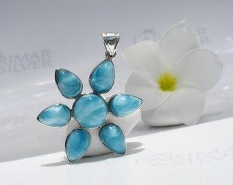 Larimarandsilver pendant, Caribbean Flower 2 - navy blue Larimar flower, sapphire blue, blue flower, volcanic blue, handmade Larimar pendant