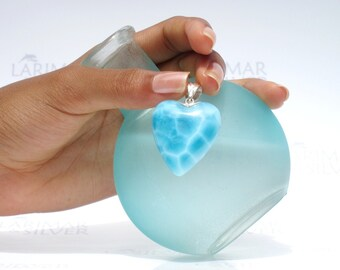 Larimarandsilver pendant, Heart of Atlantis - electric blue Larimar heart, navy blue, turtleback, AAA, deep blue, handmade Larimar pendant