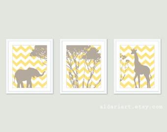 Elephant and Giraffe Nursery Art Prints - Giraffe and Elephant Wall Art  - Chevron - Yellow and Taupe - Set of 3 Prints - Aldari Art