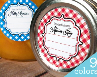 Gingham CUSTOM Kitchen labels, round stickers for canning jars or baked goods, From the Kitchen of sticker personalized with your name color