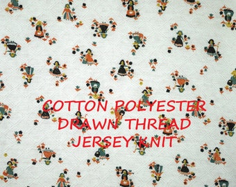 White Blue Orange, Dutch Women, Jersey Knit Print, Fashion Fabric, Drawn Thread Diamonds, Lightweight, Cotton Polyester, half yard, B23