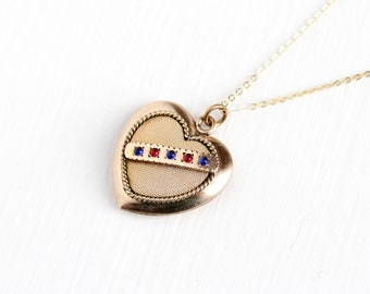 Antique Rose Gold Filled Heart Shaped Puffy Pendant Necklace - Vintage Edwardian 1910s Blue Pink Red Rhinestones Fob Jewelry