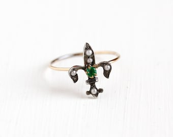 Antique 10k Yellow Gold & Silver Fleur De Lis Ring - Vintage Art Deco Simulated Emerald Seed Pearl Stick Pin Conversion Fine Lily Jewelry