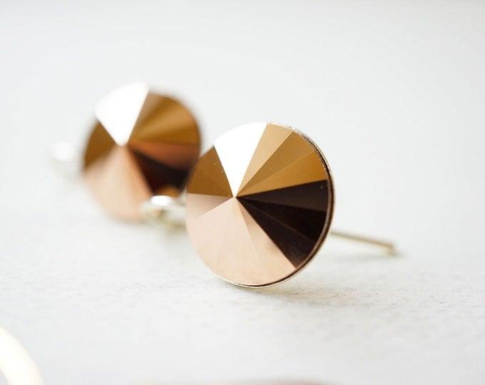 Featured listing image: SALE - Earrings, Crystal Earrings, Rose Gold Earrings, Silver Earrings, Rivoli Earrings, Dangle Earrings, Drop Earrings, Handmade Earrings