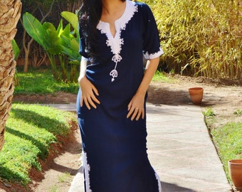 Trendy Clothing Navy Blue  with White Khalida Moroccan Caftan Kaftan -maxi, resort, beach cover up, Birthdays,Maternity Gifts