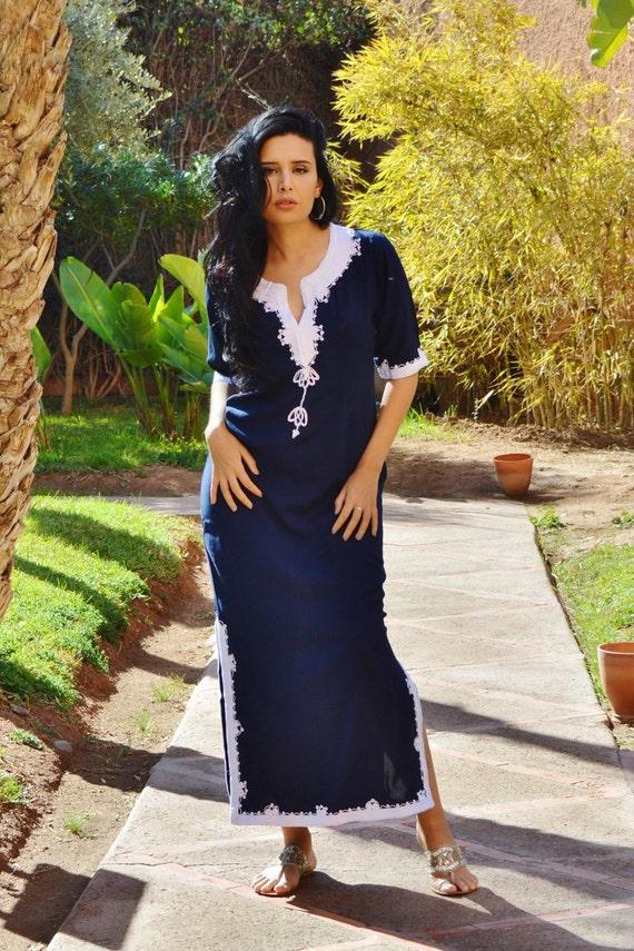 Trendy Clothing Navy Blue  with White Khalida Moroccan Caftan Kaftan -maxi, resort, beach cover up, Birthdays,Maternity Gifts