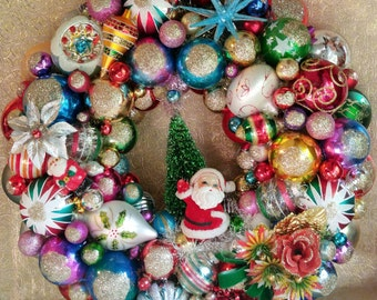 Vintage Christmas Ornament Wreath, Handmade, Felt Santa, Shiny Brite Ornaments, Mercury Glass Indents, MADE TO ORDER All sizes Available!