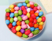 50x 12mm Oval Shaped Beads in bright Multicolours