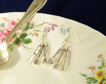 Cutlery Earrings - Fork and Knife Earrings - Foodie Gifts - Spoon Earrings, Cutlery Jewellery