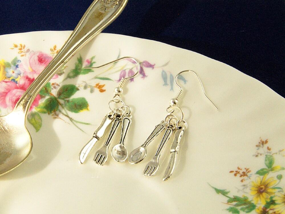 Cutlery Earrings - Fork and Knife Earrings - Foodie Gifts - Spoon Earrings, Cutlery Jewellery
