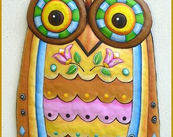 Painted Metal  Owl Wall Hanging, Metal Art Wall Decor, Metal Art, Owl Art, Garden Art, Metal Wall Art, Owl Wall Art, Owl Decor - J-351-GL