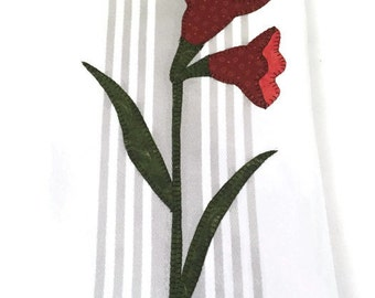 White grey stripe towel red flower appliqué