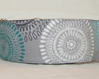 Tribal Sun Martingale Dog Collar - 1.5 or 2 Inch - gray white teal turquoise black grey serenity style