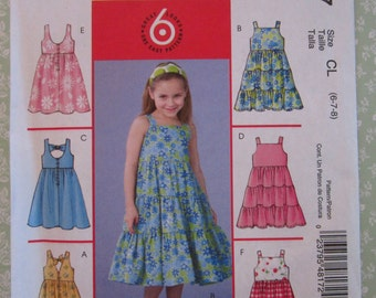 Easy to Sew Girls Flared Sleeveless Summer Dresses Sizes 6 7 8 McCalls Pattern M4817 UNCUT