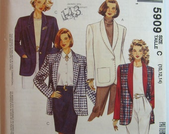 Misses Lined or Unlined Loose-fitting Jackets Sizes 10 12 14 Vintage 1990's McCalls Pattern 5909 UNCUT
