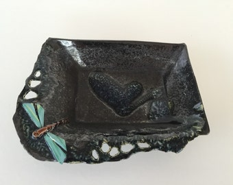 Studio Pottery Abstract Heart Dragonfly/ Contemporary Art/ By Gatormom13