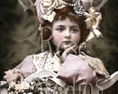 Mae-Victorian Girl-French Postcard-Digital Image Download