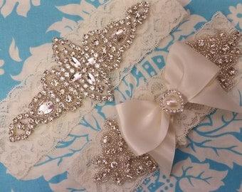Wedding Garter set - bridal garter set  - ivory stretch lace garter - crystal - rhinestone - pearl heart - rhinestone crystal garter set