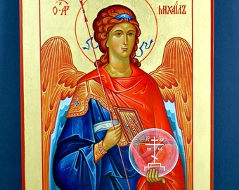 Archangel Michael - Hand Painted Icon, Gold Leaf