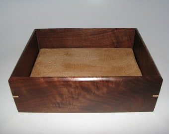"""Valet Box in Walnut. Wooden Tray Upholstered in Suede Fabric. 7.5"""" x 6"""" x 2.5"""""""