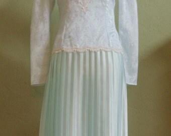 """Vintage Scott McClintock Special Occasion Dress FRT Lace Appliqué Dropped Waistline Pleated Skirt Bust 35"""" Waist 29"""""""