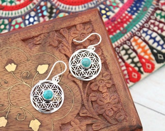 Silver plated and stones Sacred geometry FLOWER OF LIFE dangling earrings Bohemian jewelry by Inali