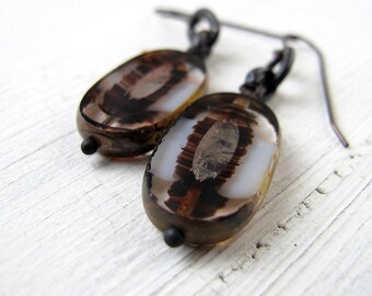 Bohemian Dangles. Monochrome Statement Earrings, Czech Picasso Glass Drops, Black and  White Rustic Ovals,  Boho Chic Large Table Cut