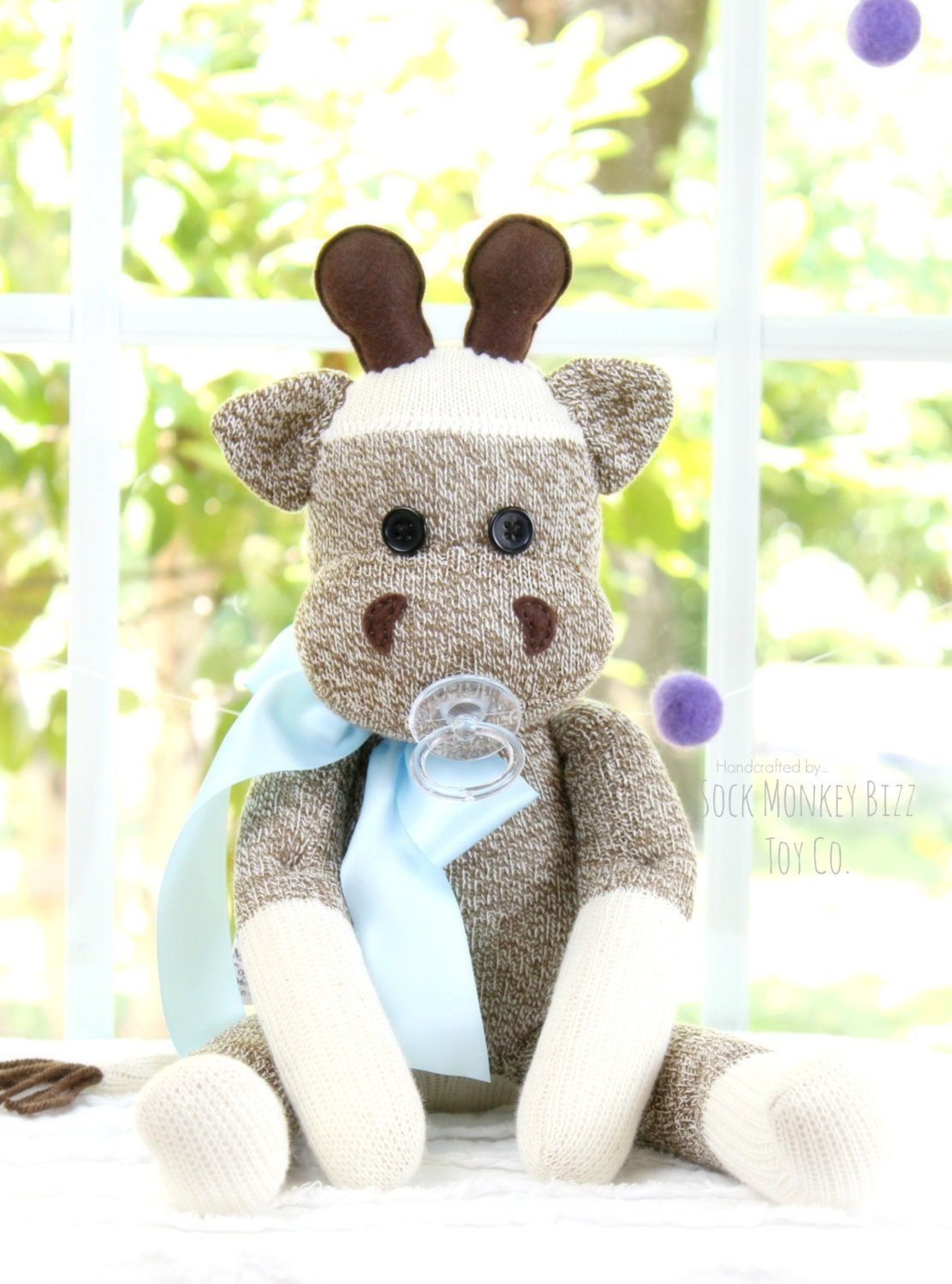 childs toy baby giraffe stuffed plush doll with pacifier. Black Bedroom Furniture Sets. Home Design Ideas