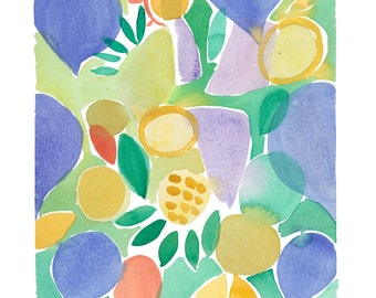 Abstract watercolor - Original watercolor painting - Floral watercolor yellow blue