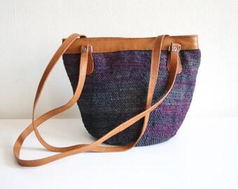 Blue Purple Sisal Market Bag