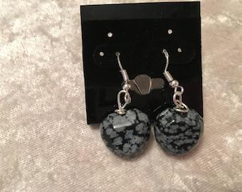 Heart Earrings, Snowflake Obsidian Earrings, Dangle Earrings, Black Earrings, Sterling Silver, snowflake Obsidian Jewelry, Heart Jewelry