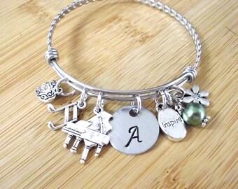 Piano Bracelet, Piano Jewelry, Music Jewelry,  Personalized Music Jewelry, Music Bracelet