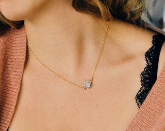 Sideways Druzy, Gold Necklace, White Gold, Druzy Necklace, White Shimmer, Pave Necklace, Christmas gift, Bridal, Wedding, Bridesmaid,