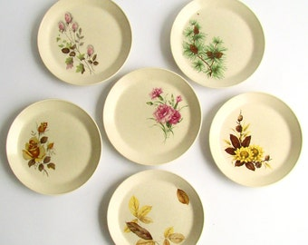 Johnson of Australia, Side Plates, Mismatched Crockery, Rose Buds, Pink Carnations, Pine Cones, Autumn Leaves, Woodside Pattern, Sherbrooke