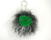 Pom Pom Keychain Faux Fur Monster Keychain Kawaii bag accessory bag accessories handbag charm Yeti Fur and Green