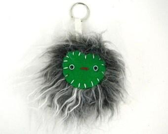 Pom Pom Keychain Faux Fur Monster Keychain Kawaii bag accessory bag accessories handbag charm Yeti Fur and Green