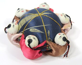 Vintage Pin Cushion with 6 Hugging Chinese Asian Children - Sewing Accessory