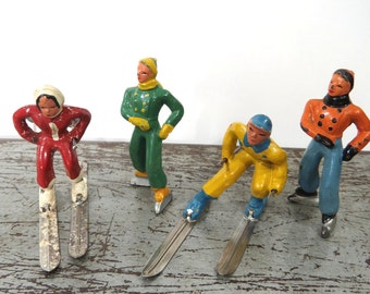 Vintage Barclay Lead Iron Skaters & Skiers, Set of 4, 1930s Winter Sports Figures, Holiday, Christmas Display
