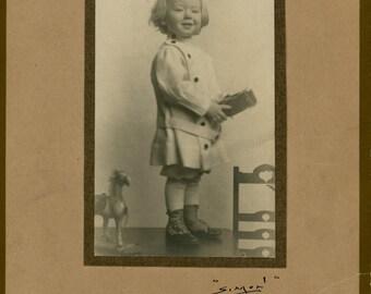 Vintage Photo, Little Boy Holding Toy, Cabinet Photo, Black & White Photo, Victorian Photo, Studio Portrait, Found Photo, Vernacular Photo