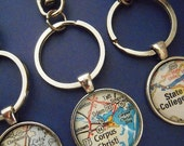 Custom Map Key Chain for JOAN - Bumpus Mills TN Vintage Map Keychains, Personalize Map Jewelry, Charms, Cuff Links, Gift Ideas