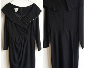 Vintage Little Black Dress, Sequin Statement Collar, Drape Dress