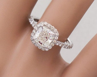 14K White Gold Cushion Cut Foever Brilliant Moissanite and Diamond Engagement Ring Halo Art Deco prong 2.00ctw