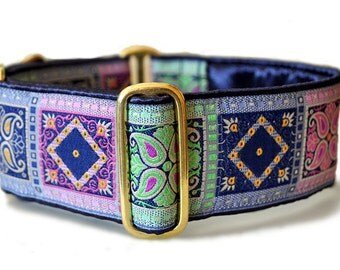 Navy, Lime, and Pink Squares Jacquard Martingale Collar - 2 Inch, Greyhound Collar, Great Dane Collar, Custom Dog Collar, Whippet Collar