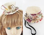 Ready to Ship! Textile Teacup Fascinator-Playing Cards Beige *Alice in Wonderland's Mad Hatter Tea Party!*