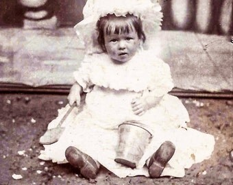 Victorian Photo Little Girl and Sand Pail and Shovel, Photo Digital Download, Adorable Girl in Sand. Beach Photo, Vintage Photograph