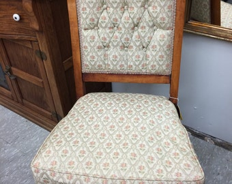 Beautifully Carved Antique Upholstered Chair, Antique Mahogany Chair, 1800's, Floral Upholstery, Antique Furniture