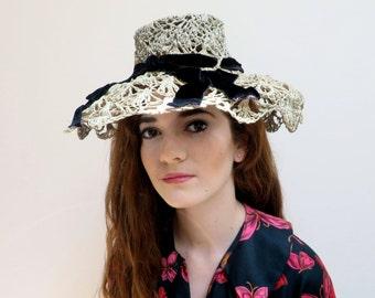 Vintage 1930's/Lace Crochet Brimmed Hat with Velvet Trim/ /Lazarus/30's Ecru Spring Hat/Floppy  Brim
