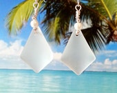 White seaglass beads earrings silver wire wrapped diamond shape sea glass earrings beach glass earrings