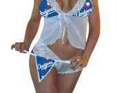 MLB Lingerie Los Angeles Dodgers Sexy White Cami Top and Lace Booty Shorts Set Plus FREE Matching G-String Thong Bridal Shower Bachelorette